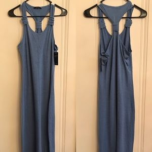 NWT Long Fitted Heather Blue Tank Dress in size M